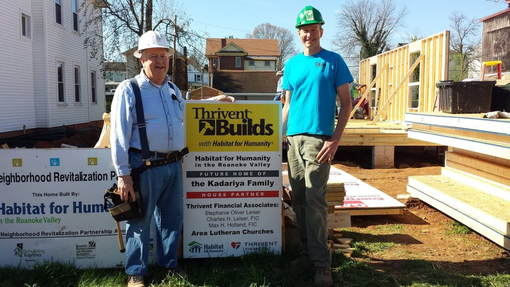 im McCarthy, a member of Christ Lutheran (left), and Brian Clark, Construction Director (right), get ready to work on the 10th Thrivent funded house in Roanoke