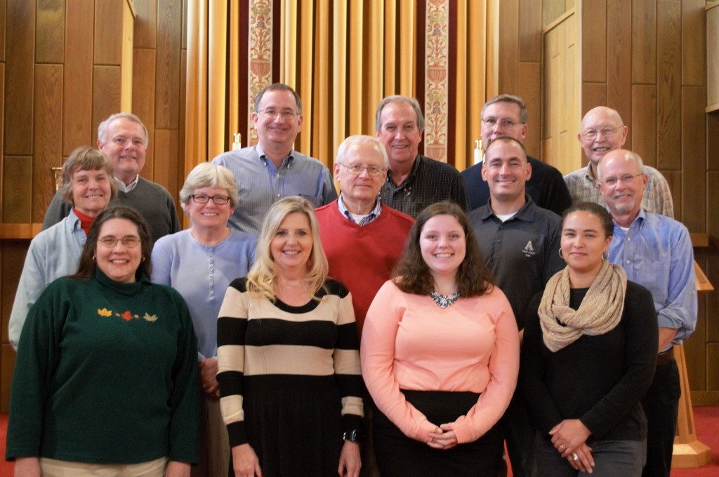 Top row from left to right: Rev. E. Roy Riley (Bishop Emeritus of the New Jersey Synod),  Rev. Lou Florio, Rev. Jim Utt,  Mark Reed, Rev. Larry Shoberg. Middle row from left to right: Elizabeth Smythe, Jody Smiley, Charles Poston, Steve Fredericksen, Robert (Bob) Yates. Bottom row from left to right: Rev. Karen Van Stee, Rebecca Walls (Office Manager of the Virginia Synod), Maren Corliss, Blythe Scott.